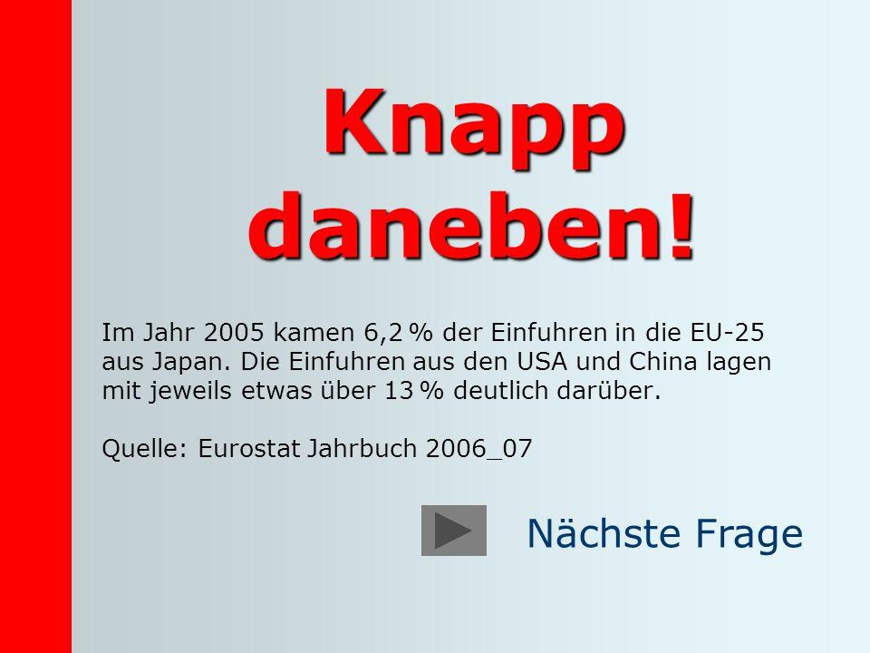 Knapp daneben! Im Jahr 2005 kamen 6,2 % der Einfuhren in die EU-25 aus Japan. Die Einfuhren aus den USA und China lagen mit jeweils etwas über 13 % de
