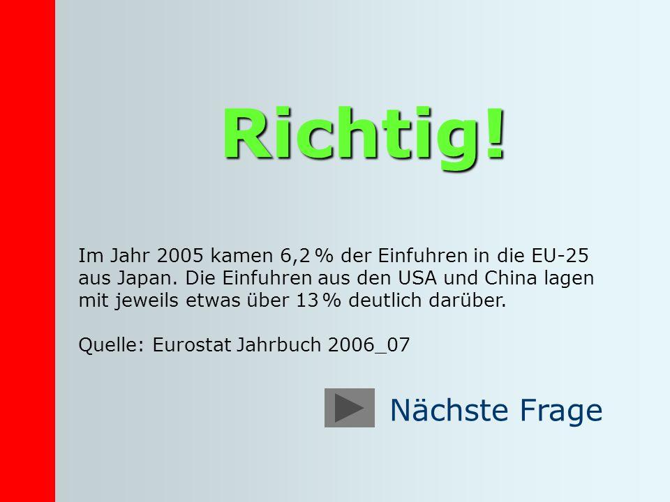 Richtig! Im Jahr 2005 kamen 6,2 % der Einfuhren in die EU-25 aus Japan. Die Einfuhren aus den USA und China lagen mit jeweils etwas über 13 % deutlich