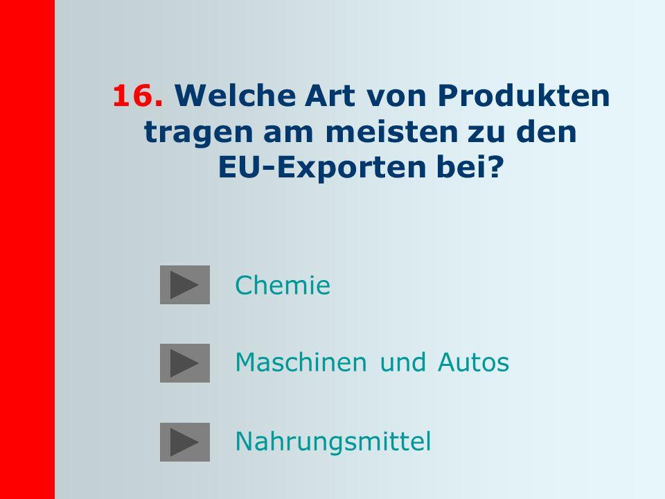 16. Welche Art von Produkten tragen am meisten zu den EU-Exporten bei? Maschinen und Autos Nahrungsmittel Chemie