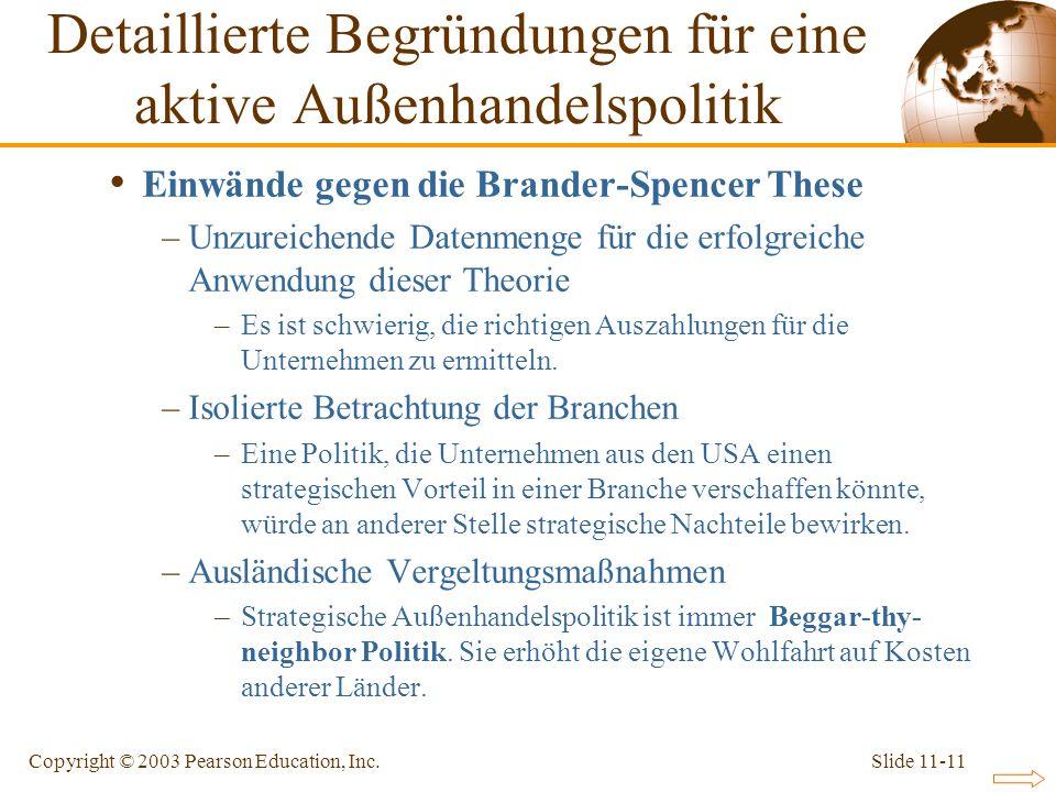 Slide 11-11Copyright © 2003 Pearson Education, Inc. Einwände gegen die Brander-Spencer These –Unzureichende Datenmenge für die erfolgreiche Anwendung