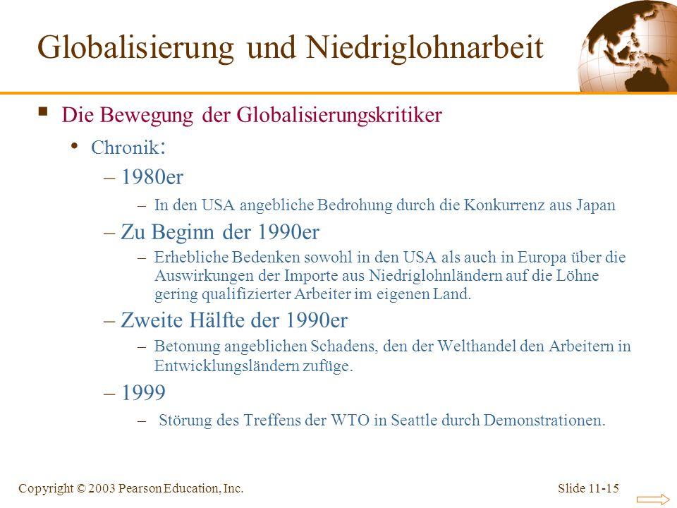 Slide 11-15Copyright © 2003 Pearson Education, Inc. Die Bewegung der Globalisierungskritiker Chronik : –1980er –In den USA angebliche Bedrohung durch