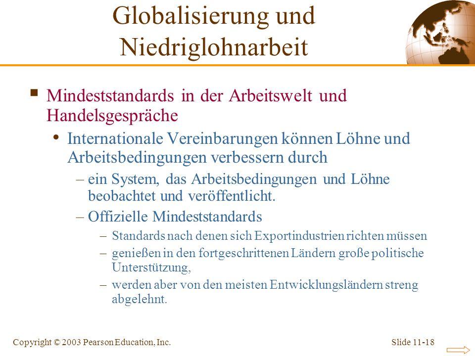 Slide 11-18Copyright © 2003 Pearson Education, Inc. Mindeststandards in der Arbeitswelt und Handelsgespräche Internationale Vereinbarungen können Löhn
