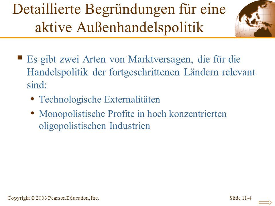 Slide 11-4Copyright © 2003 Pearson Education, Inc. Detaillierte Begründungen für eine aktive Außenhandelspolitik Es gibt zwei Arten von Marktversagen,
