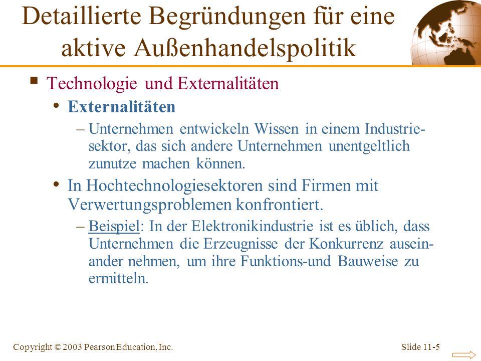 Slide 11-5Copyright © 2003 Pearson Education, Inc. Technologie und Externalitäten Externalitäten –Unternehmen entwickeln Wissen in einem Industrie- se