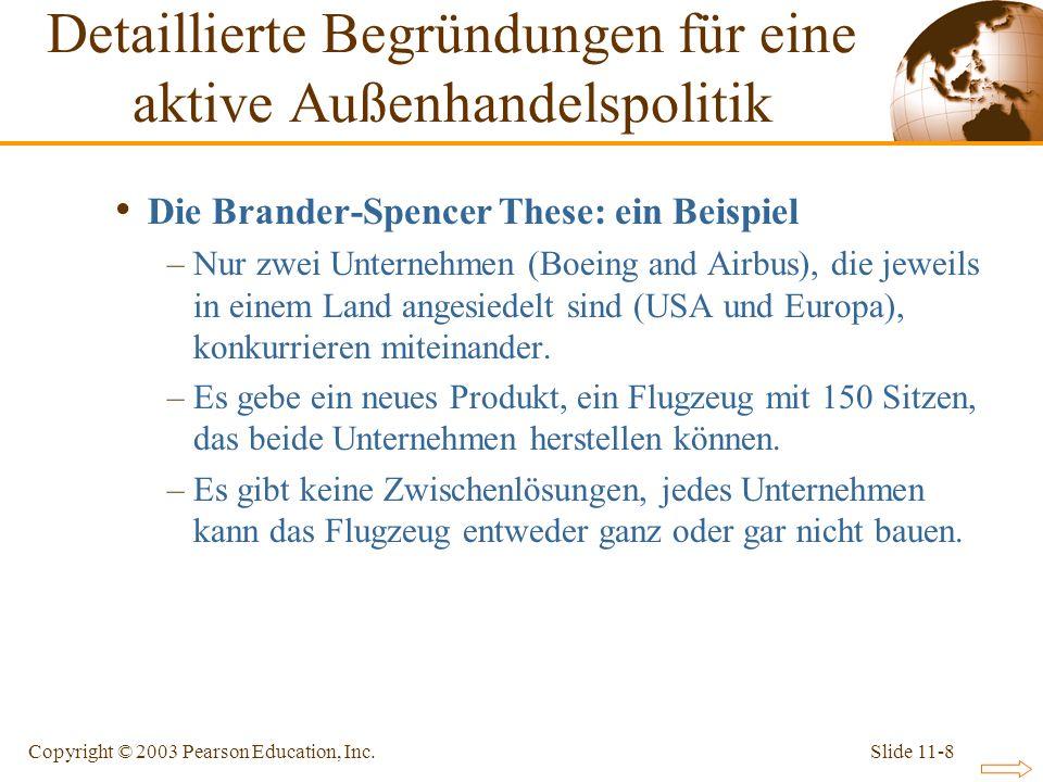 Slide 11-8Copyright © 2003 Pearson Education, Inc. Die Brander-Spencer These: ein Beispiel –Nur zwei Unternehmen (Boeing and Airbus), die jeweils in e