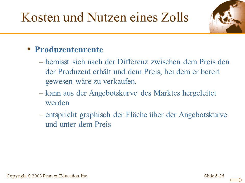 Slide 8-26Copyright © 2003 Pearson Education, Inc. Produzentenrente –bemisst sich nach der Differenz zwischen dem Preis den der Produzent erhält und d
