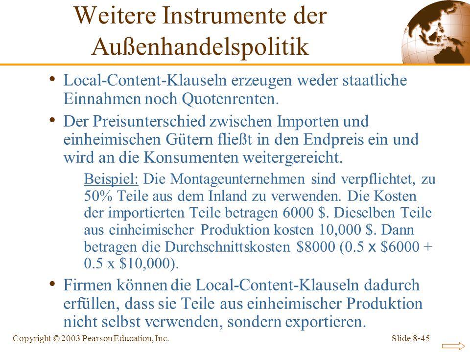 Slide 8-45Copyright © 2003 Pearson Education, Inc. Local-Content-Klauseln erzeugen weder staatliche Einnahmen noch Quotenrenten. Der Preisunterschied