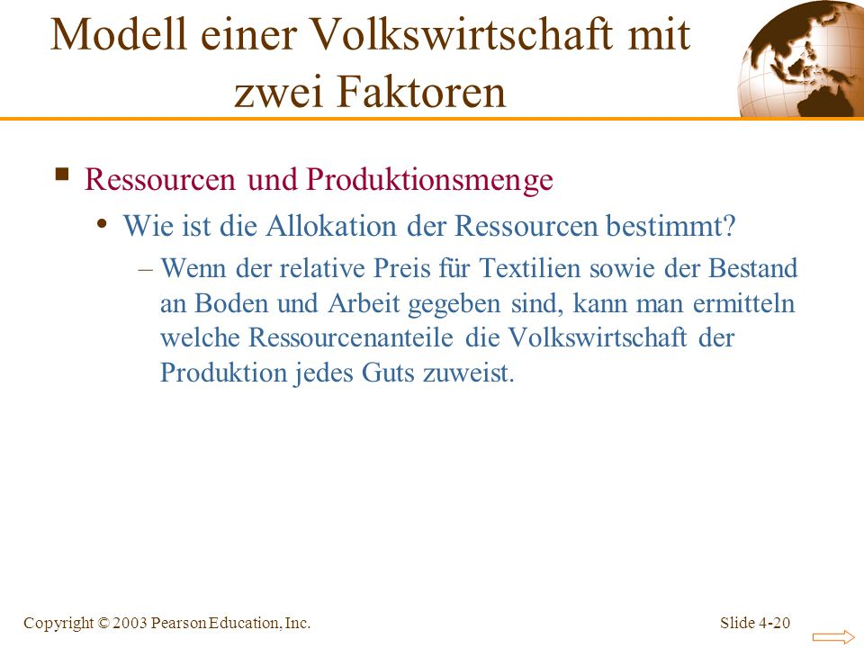 Slide 4-20Copyright © 2003 Pearson Education, Inc. Ressourcen und Produktionsmenge Wie ist die Allokation der Ressourcen bestimmt? –Wenn der relative