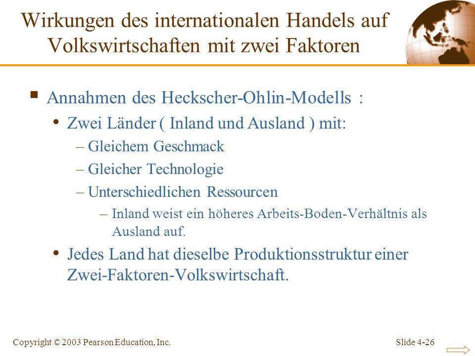 Slide 4-26Copyright © 2003 Pearson Education, Inc. Annahmen des Heckscher-Ohlin-Modells : Zwei Länder ( Inland und Ausland ) mit: –Gleichem Geschmack