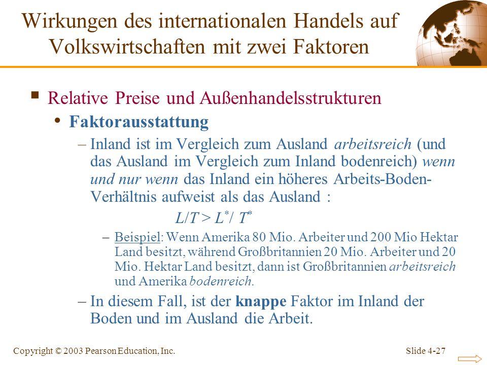 Slide 4-27Copyright © 2003 Pearson Education, Inc. Relative Preise und Außenhandelsstrukturen Faktorausstattung –Inland ist im Vergleich zum Ausland a
