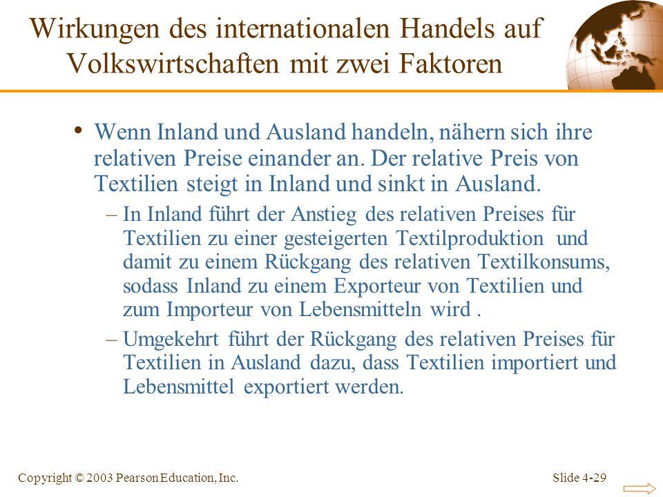 Slide 4-29Copyright © 2003 Pearson Education, Inc. Wenn Inland und Ausland handeln, nähern sich ihre relativen Preise einander an. Der relative Preis