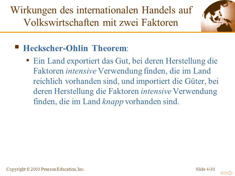 Slide 4-30Copyright © 2003 Pearson Education, Inc. Heckscher-Ohlin Theorem: Ein Land exportiert das Gut, bei deren Herstellung die Faktoren intensive