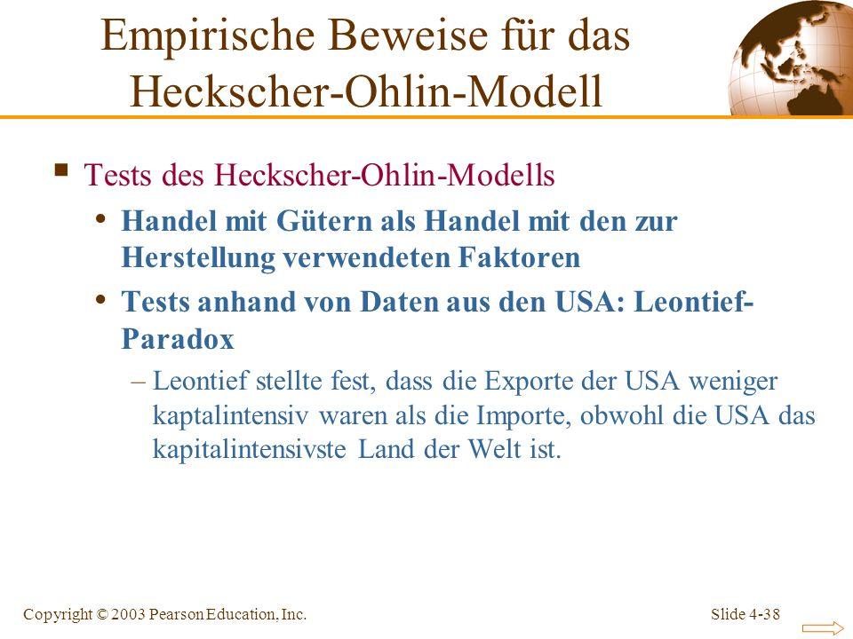 Slide 4-38Copyright © 2003 Pearson Education, Inc. Tests des Heckscher-Ohlin-Modells Handel mit Gütern als Handel mit den zur Herstellung verwendeten