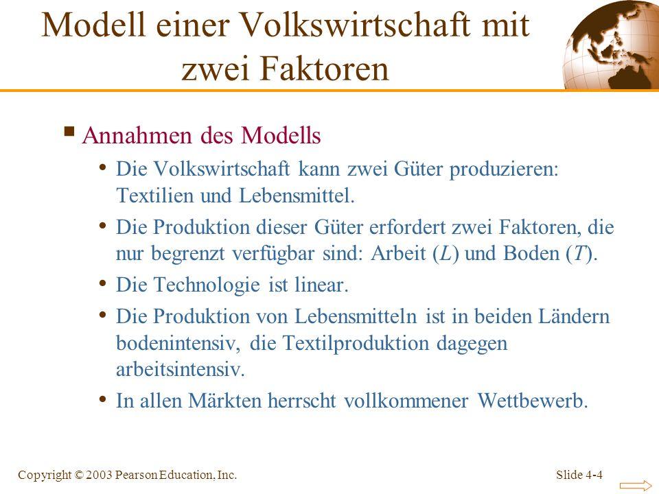 Slide 4-4Copyright © 2003 Pearson Education, Inc. Annahmen des Modells Die Volkswirtschaft kann zwei Güter produzieren: Textilien und Lebensmittel. Di