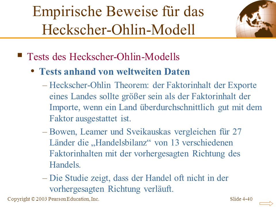 Slide 4-40Copyright © 2003 Pearson Education, Inc. Tests des Heckscher-Ohlin-Modells Tests anhand von weltweiten Daten –Heckscher-Ohlin Theorem: der F