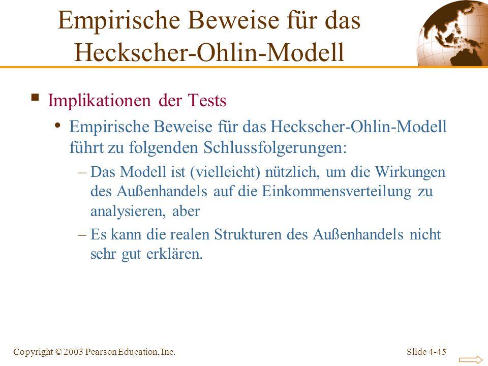 Slide 4-45Copyright © 2003 Pearson Education, Inc. Implikationen der Tests Empirische Beweise für das Heckscher-Ohlin-Modell führt zu folgenden Schlus
