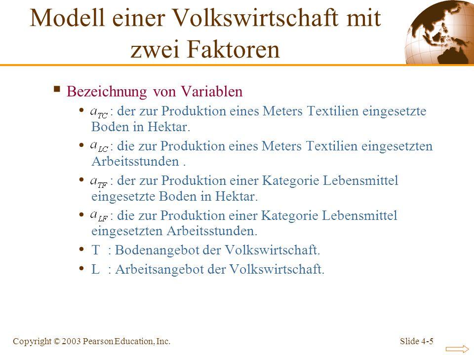 Slide 4-5Copyright © 2003 Pearson Education, Inc. Bezeichnung von Variablen : der zur Produktion eines Meters Textilien eingesetzte Boden in Hektar. :