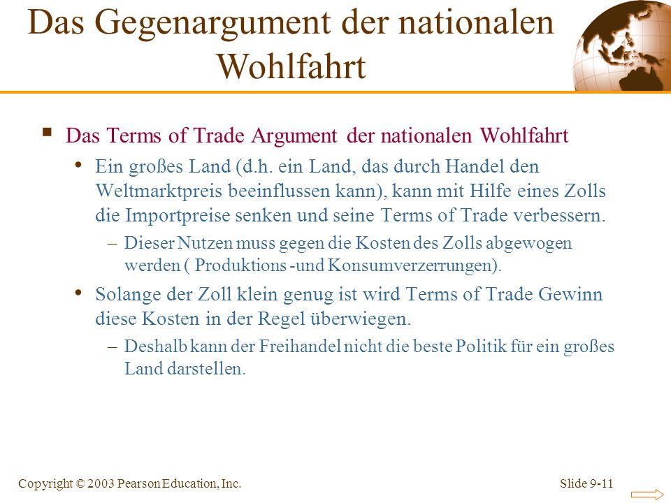 Slide 9-11Copyright © 2003 Pearson Education, Inc. Das Terms of Trade Argument der nationalen Wohlfahrt Ein großes Land (d.h. ein Land, das durch Hand