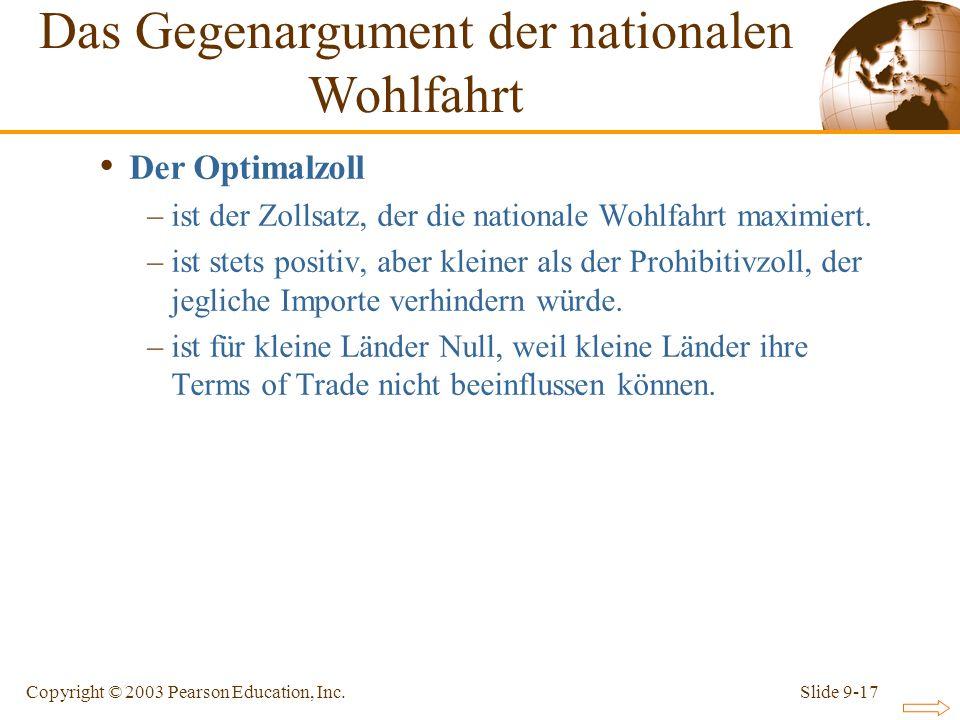 Slide 9-17Copyright © 2003 Pearson Education, Inc. Der Optimalzoll –ist der Zollsatz, der die nationale Wohlfahrt maximiert. –ist stets positiv, aber