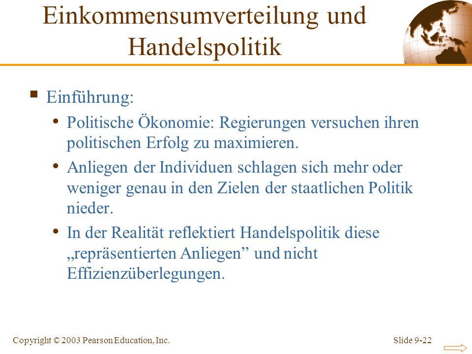 Slide 9-22Copyright © 2003 Pearson Education, Inc. Einführung: Politische Ökonomie: Regierungen versuchen ihren politischen Erfolg zu maximieren. Anli