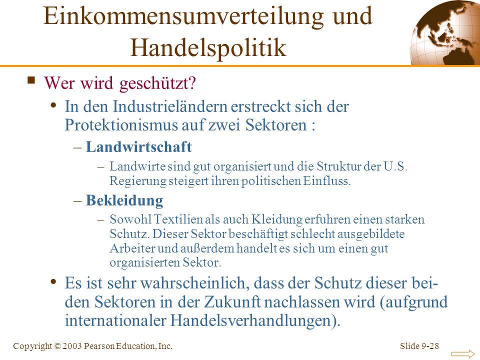 Slide 9-28Copyright © 2003 Pearson Education, Inc. Wer wird geschützt? In den Industrieländern erstreckt sich der Protektionismus auf zwei Sektoren :