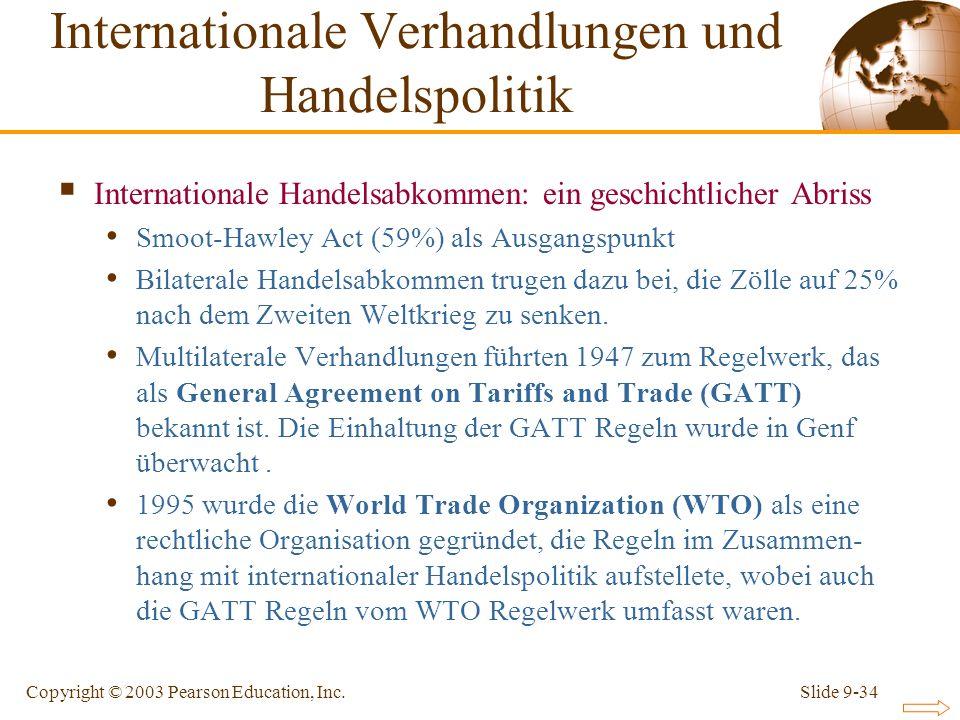 Slide 9-34Copyright © 2003 Pearson Education, Inc. Internationale Handelsabkommen: ein geschichtlicher Abriss Smoot-Hawley Act (59%) als Ausgangspunkt