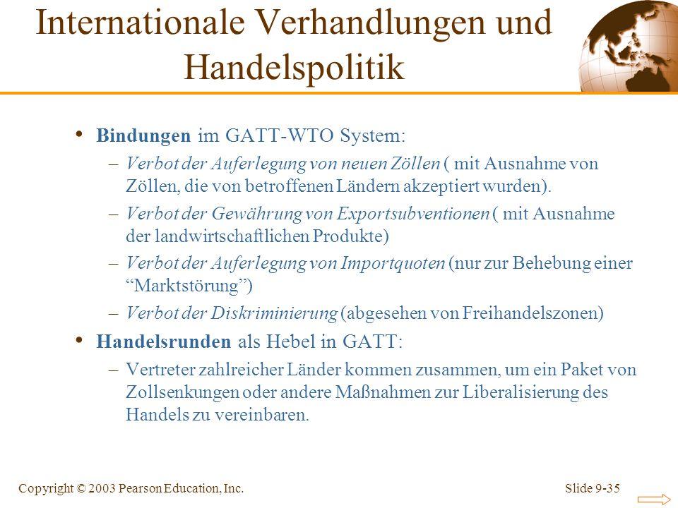 Slide 9-35Copyright © 2003 Pearson Education, Inc. Bindungen im GATT-WTO System: –Verbot der Auferlegung von neuen Zöllen ( mit Ausnahme von Zöllen, d