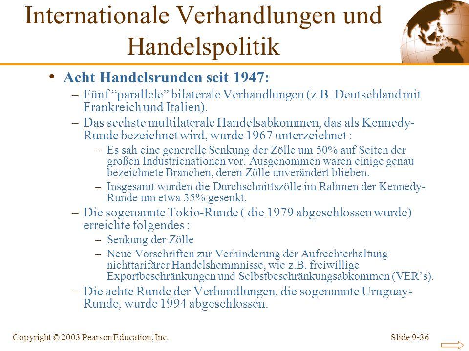 Slide 9-36Copyright © 2003 Pearson Education, Inc. Acht Handelsrunden seit 1947: –Fünf parallele bilaterale Verhandlungen (z.B. Deutschland mit Frankr