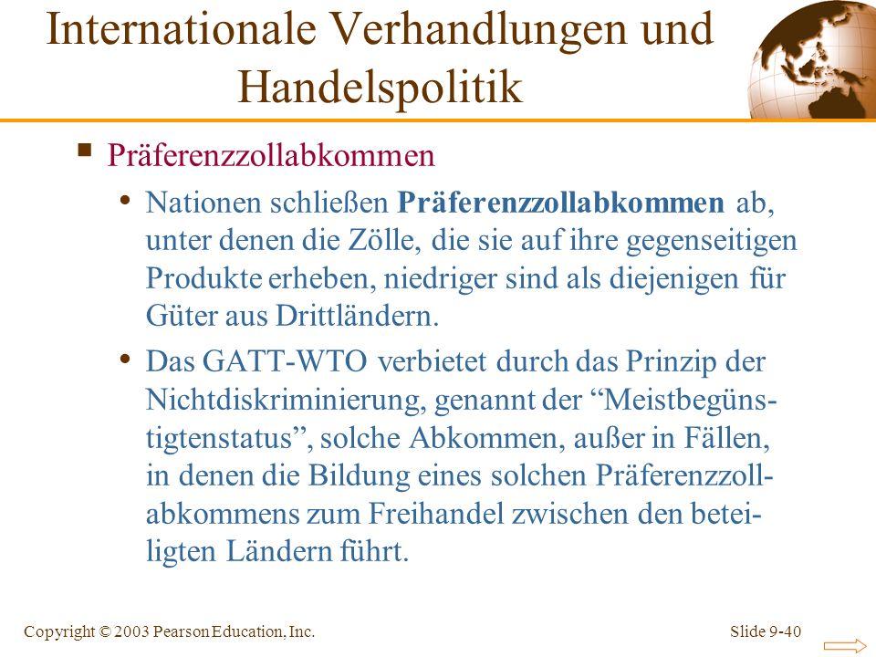 Slide 9-40Copyright © 2003 Pearson Education, Inc. Präferenzzollabkommen Nationen schließen Präferenzzollabkommen ab, unter denen die Zölle, die sie a