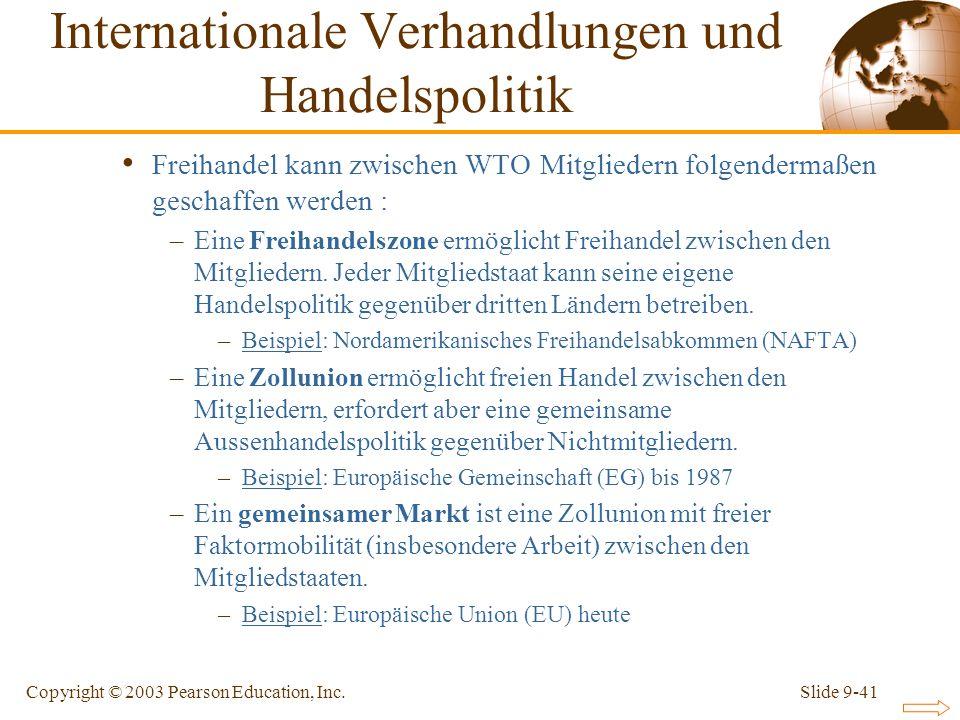 Slide 9-41Copyright © 2003 Pearson Education, Inc. Freihandel kann zwischen WTO Mitgliedern folgendermaßen geschaffen werden : –Eine Freihandelszone e