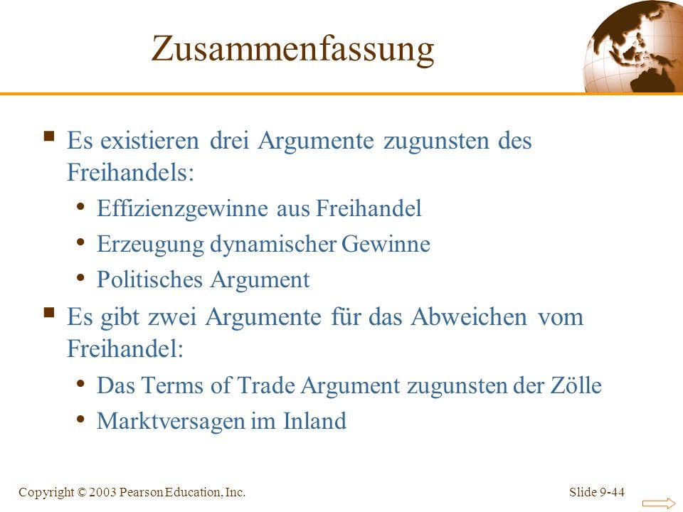 Slide 9-44Copyright © 2003 Pearson Education, Inc. Zusammenfassung Es existieren drei Argumente zugunsten des Freihandels: Effizienzgewinne aus Freiha
