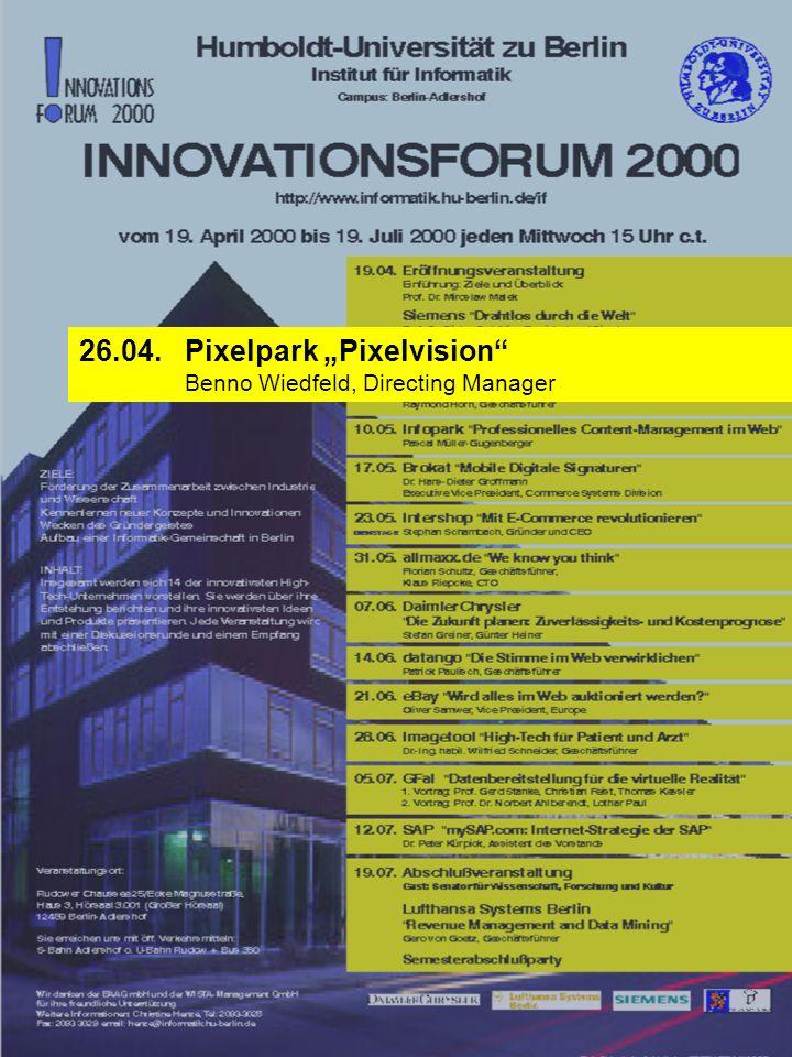 12.07. SAP mySAP.com: Internet-Strategie der SAP Dr. Peter Kürpick, Assistent des Vorstands