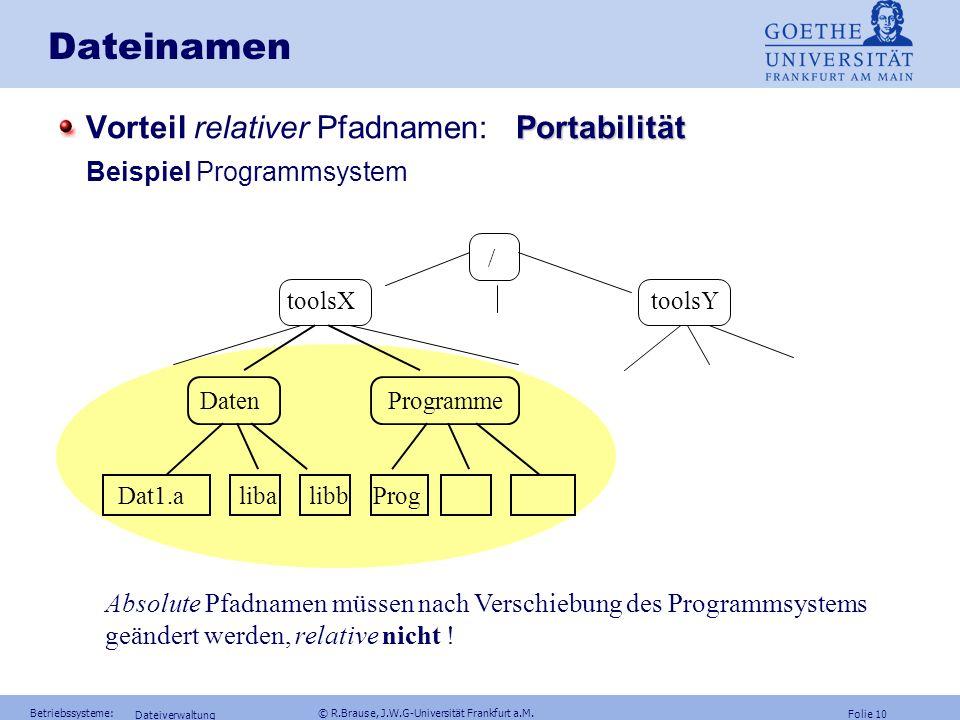 Folie 9 Betriebssysteme: © R.Brause, J.W.G-Universität Frankfurt a.M. Dateiverwaltung Dateinamen absoluter Pfadname Dateiname = Kette aus Knotennamen
