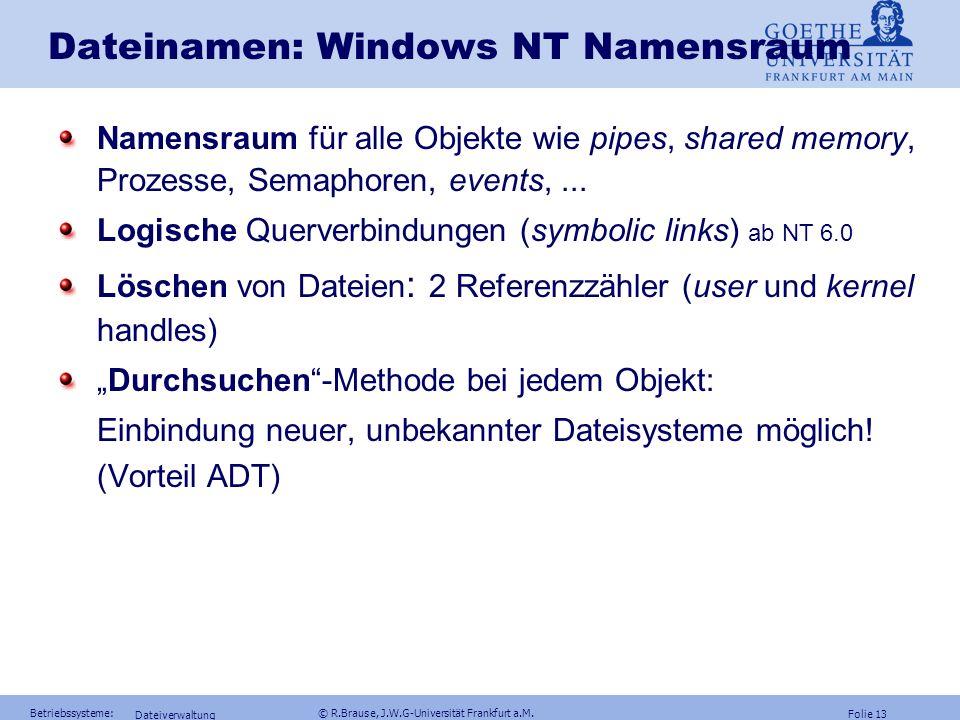 Folie 12 Betriebssysteme: © R.Brause, J.W.G-Universität Frankfurt a.M. Dateiverwaltung Dateinamen: UNIX Namensraum Querverbindungen durch hard links (