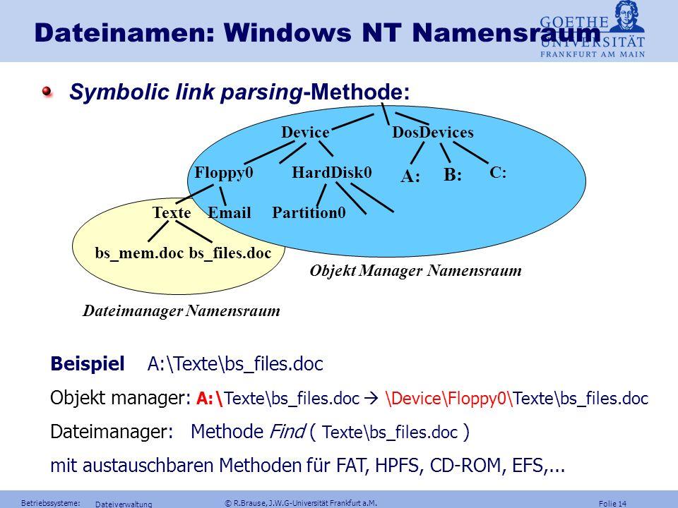 Folie 13 Betriebssysteme: © R.Brause, J.W.G-Universität Frankfurt a.M. Dateiverwaltung Dateinamen: Windows NT Namensraum Namensraum für alle Objekte w