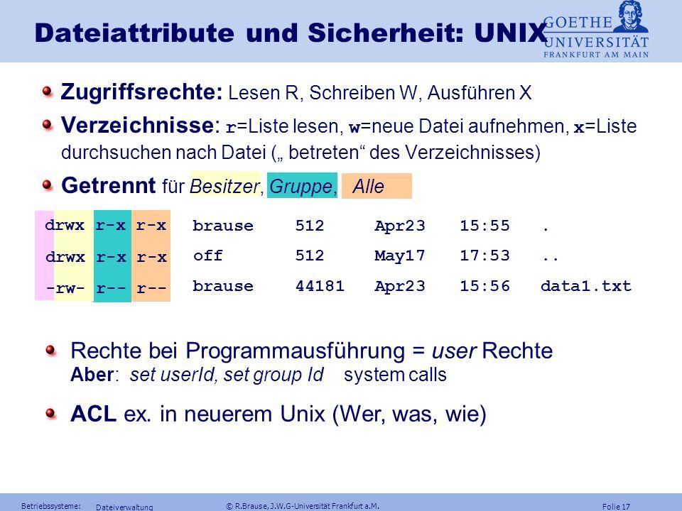 Folie 16 Betriebssysteme: © R.Brause, J.W.G-Universität Frankfurt a.M. Frage Kann man mit geeigneten Zugriffsrechten (ACL) Virenaktionen verhindern? A