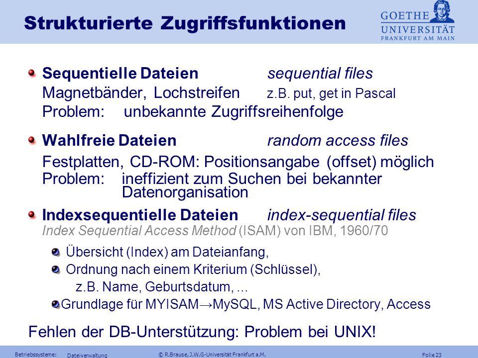 Folie 22 Betriebssysteme: © R.Brause, J.W.G-Universität Frankfurt a.M. Dateiverwaltung Dateinamen und Attribute Dateistrukturen Dateiimplementierung D