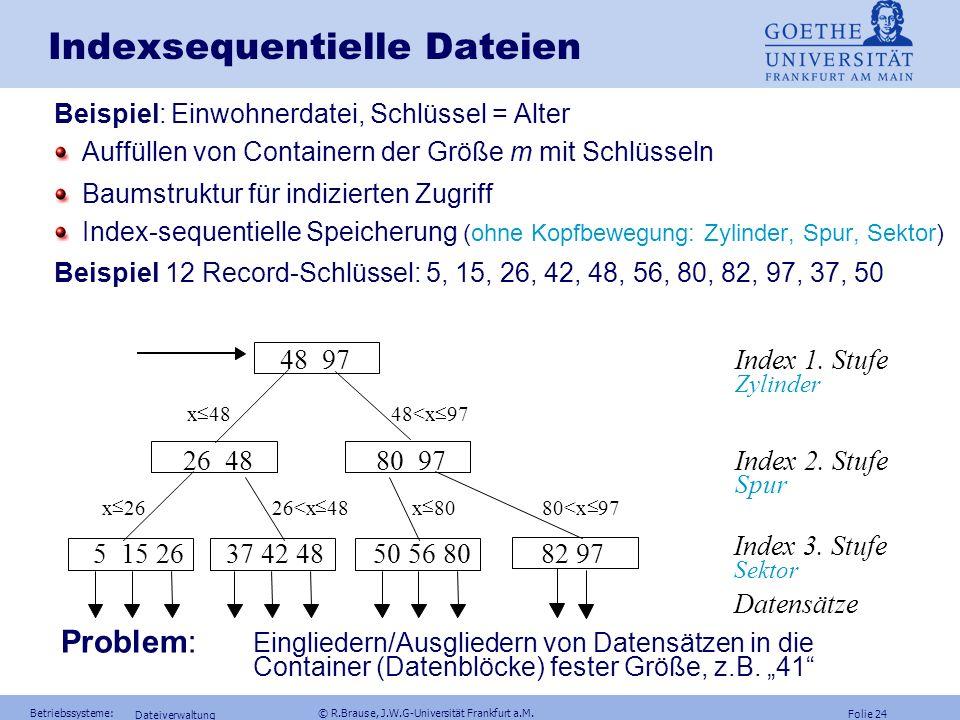 Folie 23 Betriebssysteme: © R.Brause, J.W.G-Universität Frankfurt a.M. Dateiverwaltung Strukturierte Zugriffsfunktionen Sequentielle Dateiensequential