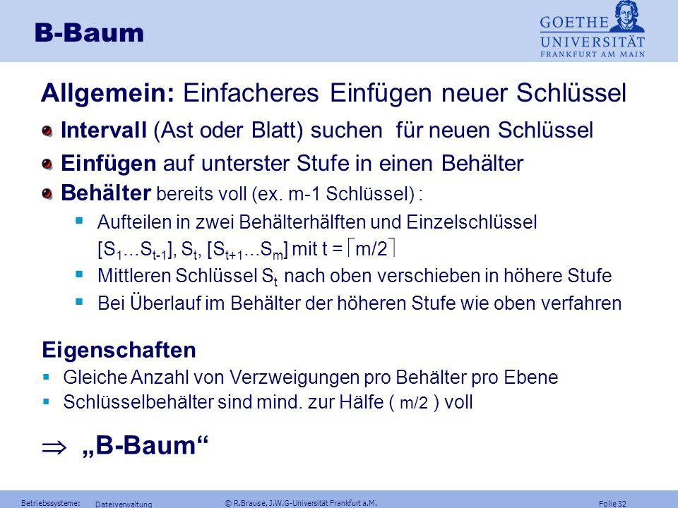 Folie 31 Betriebssysteme: © R.Brause, J.W.G-Universität Frankfurt a.M. Dateiverwaltung Indexsequentielle Dateien Beispiel: m = 5 Schlüssel 5, 15, 26,
