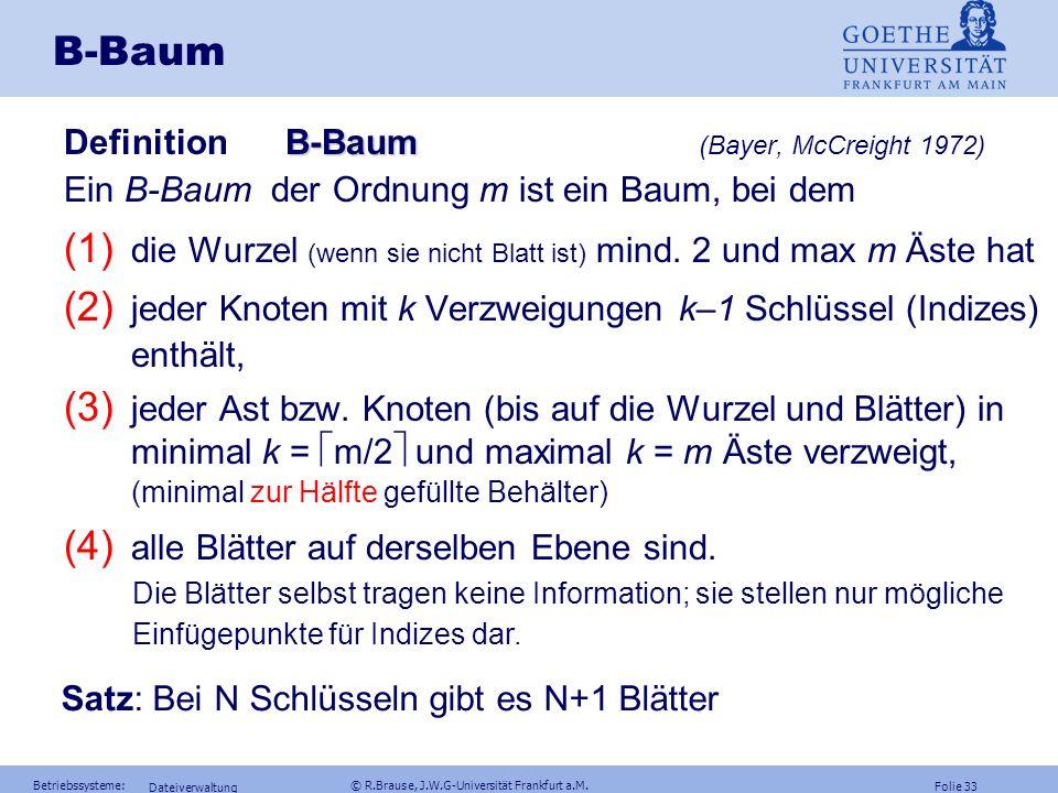 Folie 32 Betriebssysteme: © R.Brause, J.W.G-Universität Frankfurt a.M. Dateiverwaltung B-Baum Allgemein: Einfacheres Einfügen neuer Schlüssel Interval