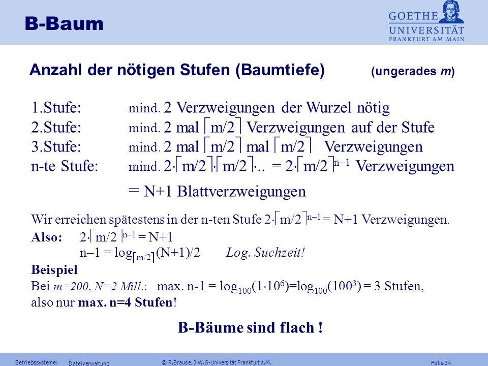 Folie 33 Betriebssysteme: © R.Brause, J.W.G-Universität Frankfurt a.M. Dateiverwaltung B-Baum B-Baum Definition B-Baum (Bayer, McCreight 1972) Ein B-B