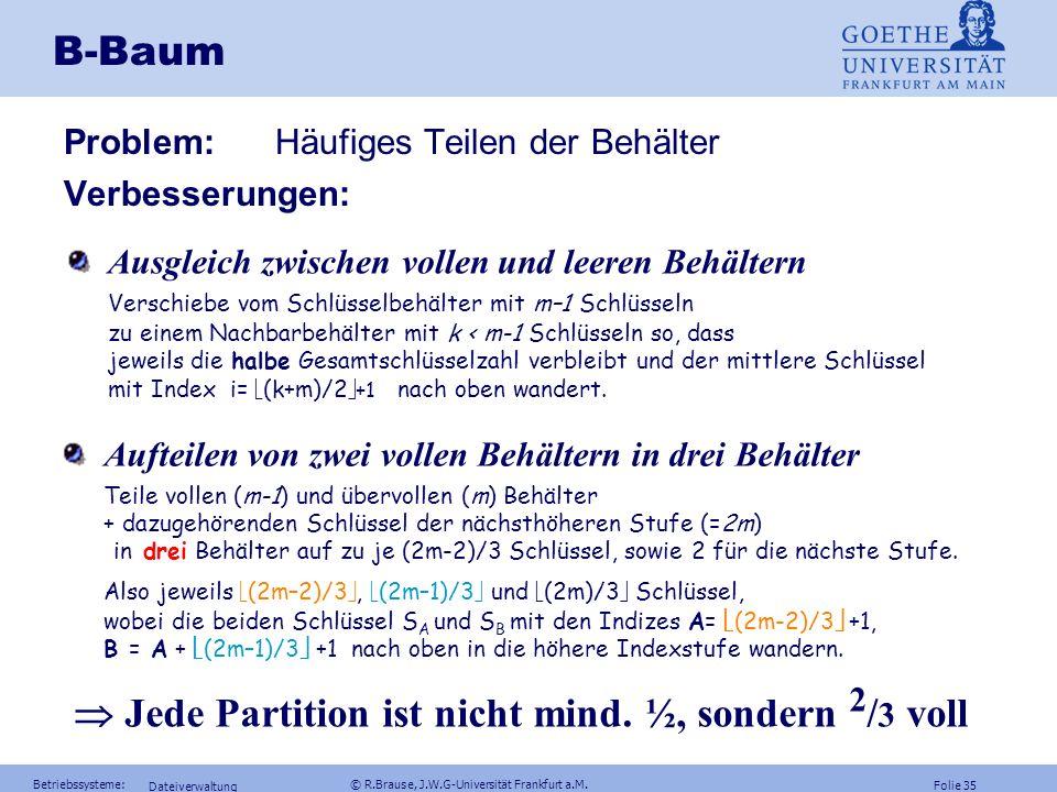 Folie 34 Betriebssysteme: © R.Brause, J.W.G-Universität Frankfurt a.M. Dateiverwaltung B-Baum Anzahl der nötigen Stufen (Baumtiefe) (ungerades m) 1.St