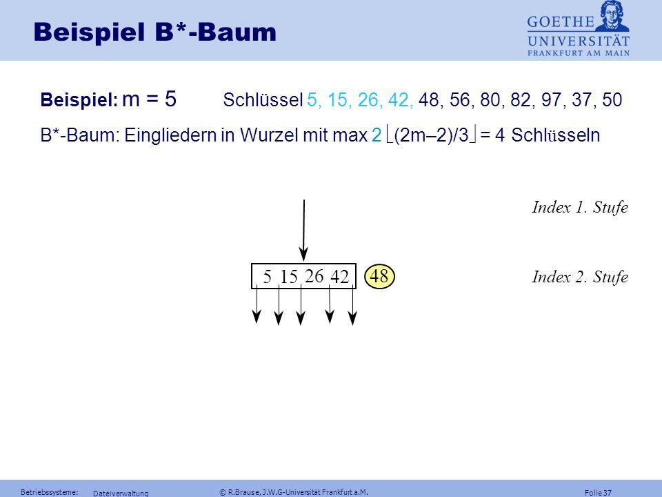 Folie 36 Betriebssysteme: © R.Brause, J.W.G-Universität Frankfurt a.M. Dateiverwaltung B*-Baum B*-Baum Definition B*-Baum Ein B*-Baum der Ordnung m is