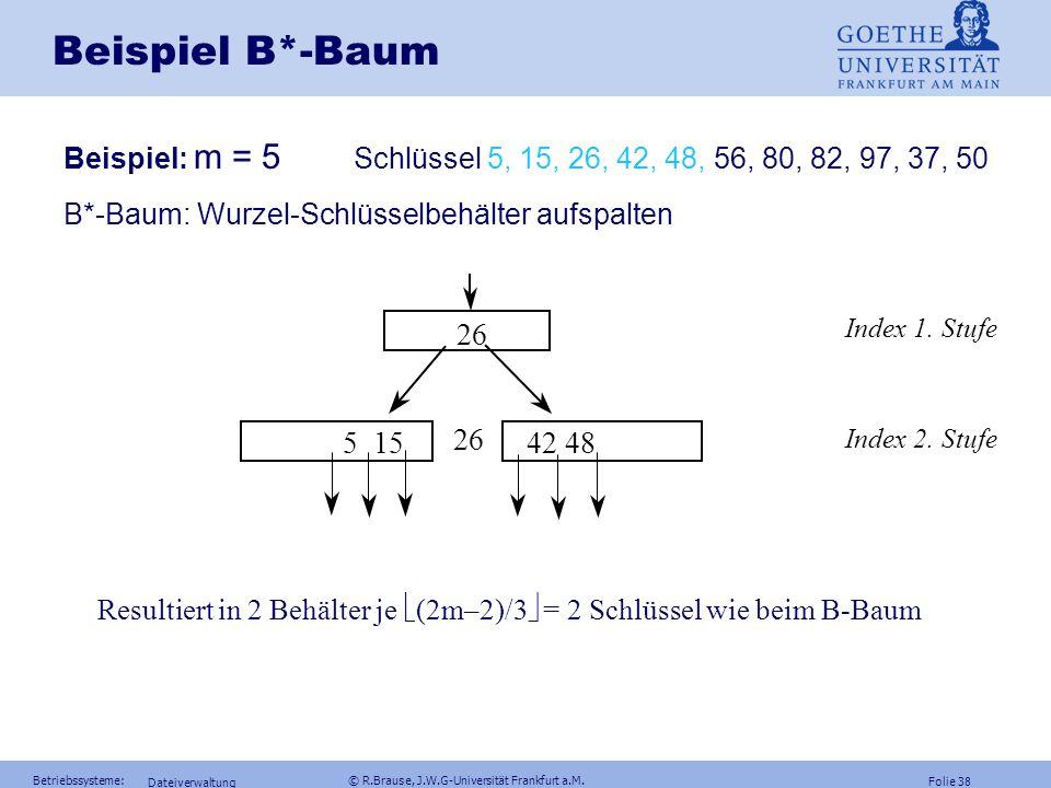 Folie 37 Betriebssysteme: © R.Brause, J.W.G-Universität Frankfurt a.M. Dateiverwaltung Beispiel B*-Baum Beispiel: m = 5 Schlüssel 5, 15, 26, 42, 48, 5
