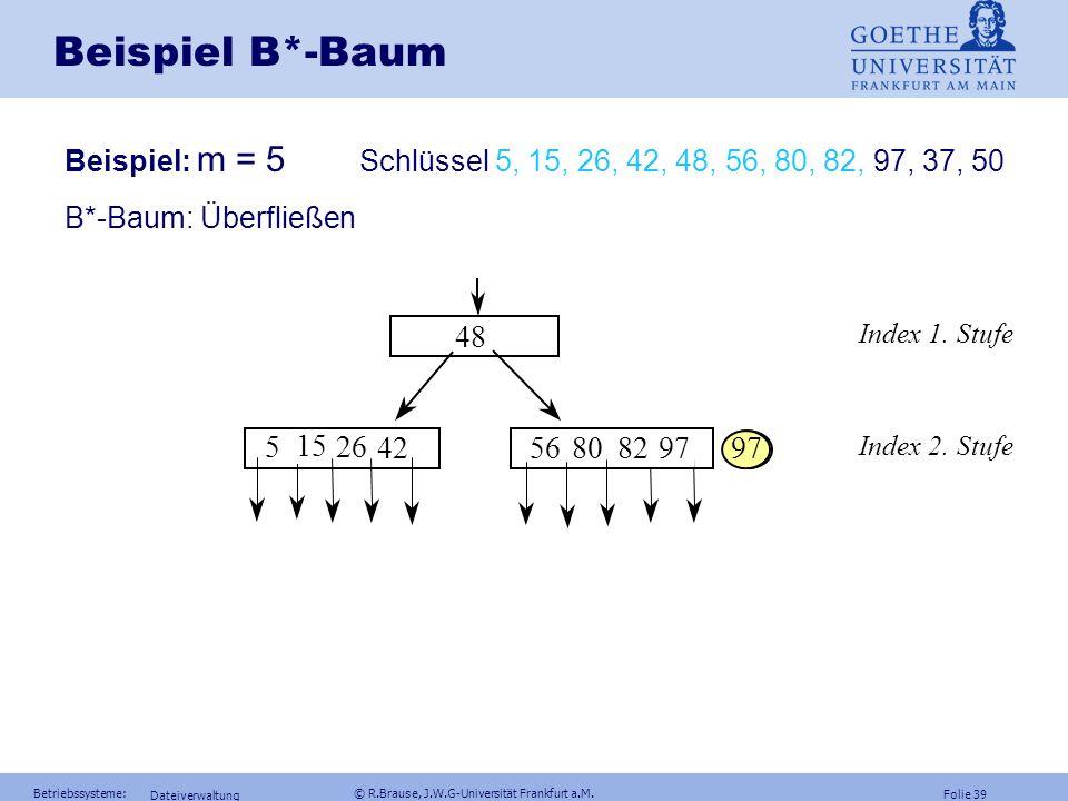 Folie 38 Betriebssysteme: © R.Brause, J.W.G-Universität Frankfurt a.M. Dateiverwaltung Beispiel B*-Baum Beispiel: m = 5 Schlüssel 5, 15, 26, 42, 48, 5
