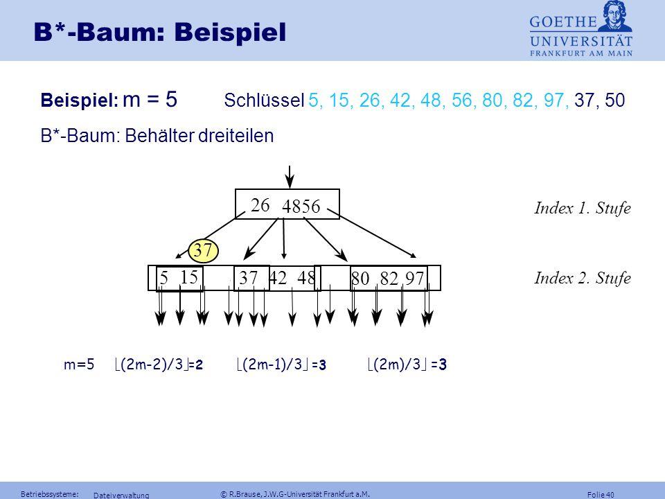 Folie 39 Betriebssysteme: © R.Brause, J.W.G-Universität Frankfurt a.M. Dateiverwaltung 26 15 5 42 48 Beispiel B*-Baum Beispiel: m = 5 Schlüssel 5, 15,