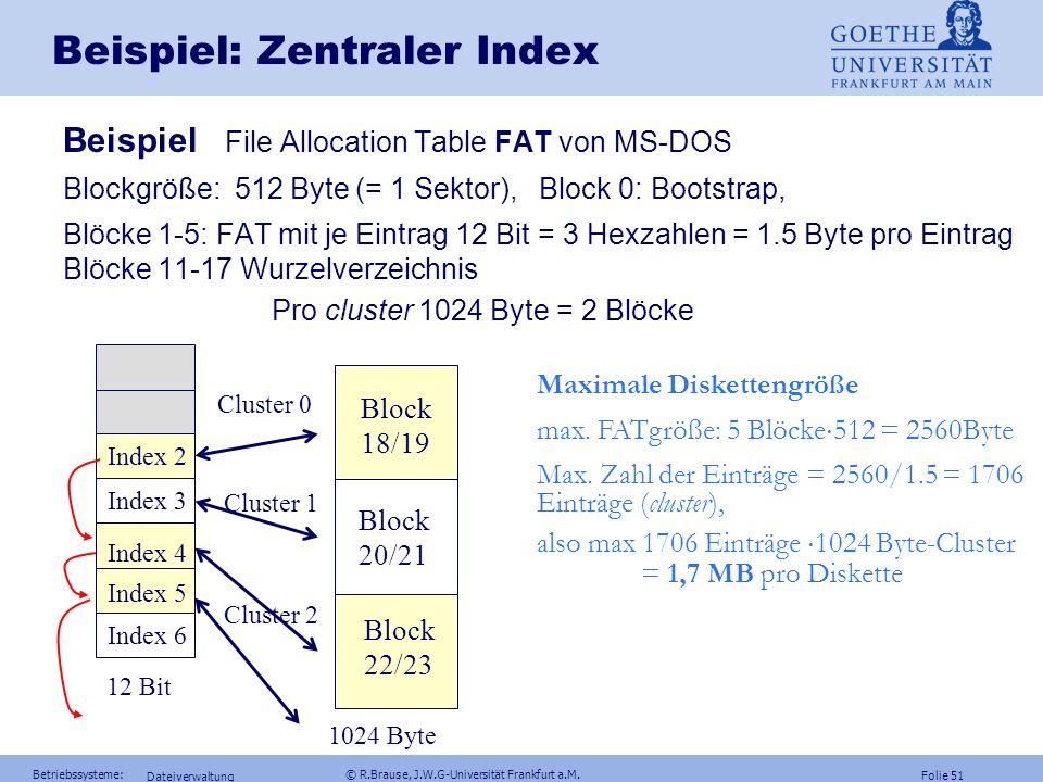 Folie 50 Betriebssysteme: © R.Brause, J.W.G-Universität Frankfurt a.M. Dateiverwaltung Dateiimplementierung Zentrale indexbezogene Speicherzuweisung z