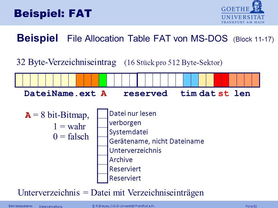 Folie 51 Betriebssysteme: © R.Brause, J.W.G-Universität Frankfurt a.M. Dateiverwaltung Beispiel: Zentraler Index Beispiel File Allocation Table FAT vo