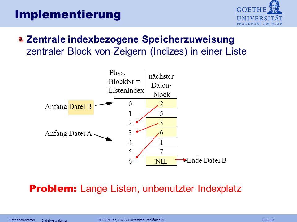 Folie 53 Betriebssysteme: © R.Brause, J.W.G-Universität Frankfurt a.M. Dateiverwaltung Beispiel: Zentraler Index FAT-Probleme bei Platten IndexgrößeFl