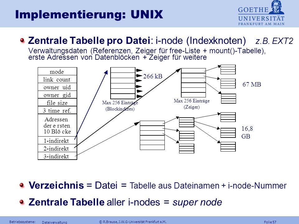 Folie 56 Betriebssysteme: © R.Brause, J.W.G-Universität Frankfurt a.M. Dateiverwaltung Implementierung Verteilte indexbezogene Speicherzuweisung Baums